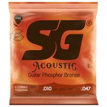 Encordoamento Para Violão Aço SG 010 Phosphor Bronze + Mi Extra e Palheta - Sg strings