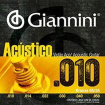 Encordoamento Para Violão Acústico Aço Giannini Geswam 010 -