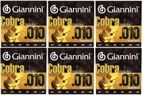 Encordoamento Para Violão De Aço Geefle Giannini 010 KIT Com 6 Jogos -