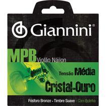 Encordoamento para violão de nylon cristal-ouro tensão média com bolinha - genwg - giannini -