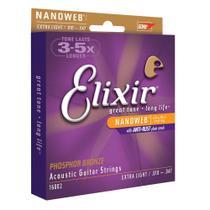 Encordoamento para violão elixir 010 extra light phosphor bronze (5337) -