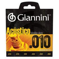 Encordoamento Para Violão Geswal Acústico Aço 0.10 Giannini -