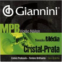 Encordoamento Para Violão Giannini - MPB Nylon - Tensão Média - Cristal Prata -