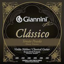 Encordoamento para violão nailon (nylon), série clássico, tensão pesada, 65/35 prateado a/p - genwpa - giannini -