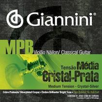 Encordoamento para violão nailon, série mpb, tensão média, cristal / prata - genws - giannini -