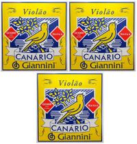 Encordoamento Para Violao Nylon Canario Giannini Genwb Bolinha KIT Com 3 Jogos -