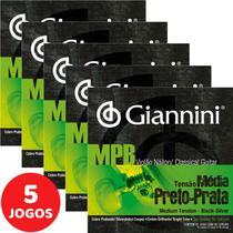 Encordoamento Para Violão Nylon Giannini MPB Tensão Média Preto-Prata GENWBS - Kit Com 5 Unidades -