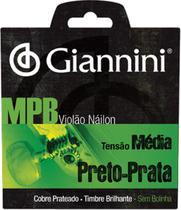 Encordoamento para violão nylon preto-prata tensão média sem bolinha genwbs - Giannini