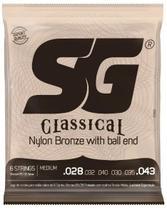 Encordoamento Sg Cordas 0.28 Violão Nylon Medium Bolinha -