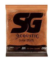 Encordoamento SG Kit 2 Jogos Corda Violão Aço 011 - Bronze 85/15 + Palheta e Corda Mi Extra -