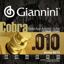 Encordoamento Violão 12 Cordas 010 Giannini Cobra Geef12m -