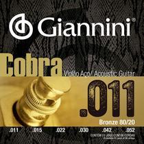 Encordoamento Violão Aço 011 Giannini Cobra 80/20 CA82SL -