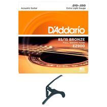 Encordoamento Violão Aço Daddario EZ900 .010 + Capotraste -