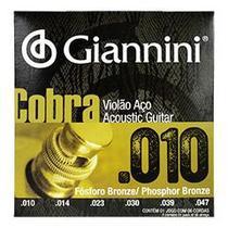 Encordoamento Violão Aço Fósforo Bronze .010 c/ Bolinha Giannini Cobra GEEFLEF -