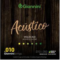 Encordoamento Violão Aço Giannini Acústico Bronze GESWAM 010 -