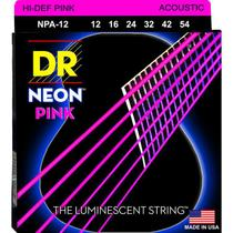 ENCORDOAMENTO VIOLÃO AÇO Hi-Def NEON PINK 0.12 NPA-12 -  DR STRINGS -