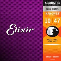 Encordoamento Violao Elixir 11002 Aco .010-.047 Nanoweb - 80/20 Bronze -