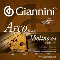Encordoamento Violino 4/4 Giannini Aluminio Média Geavva -