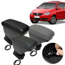 Encosto Descanso Braço Apoio Polo Hatch Sedan 2002 a 2015 Com USB Couro Ecológico Encaixe no Cinto - Nat