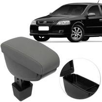 Encosto Descanso de Braço Apoio Astra Hatch Sedan 03 a 12 Cinza Couro Ecológico Encaixe Porta Copos - Nat