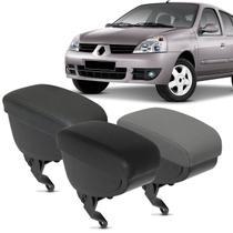 Encosto Descanso de Braço Apoio Clio Hatch 04 a 16 Sedan 04 a 09 Eco Couro Encaixe Cinto Segurança - Nat