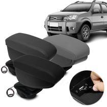Encosto Descanso de Braço Apoio Fiesta Hatch Sedan 11 a 14 Ecosport 10 a 12 Com USB Couro Ecológico - Nat