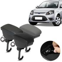 Encosto Descanso de Braço Apoio Ford Ka 2008 a 2013 Com USB Couro Ecológico Encaixe no Cinto - Nat