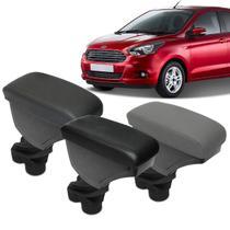 Encosto Descanso de Braço Apoio Ka Hatch Sedan 15 a 18 Porta Objetos Eco Couro Encaixe Porta Copos - Nat