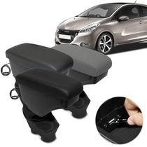 Encosto Descanso de Braço Apoio Peugeot 208 13 a 20 2008 Allure 16 a 20 Com USB Couro Ecológico - Nat