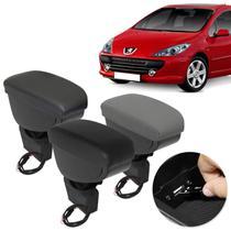 Encosto Descanso de Braço Apoio Peugeot 307 2002 a 2012 Com USB Couro Ecológico Encaixe Porta Copos - Nat