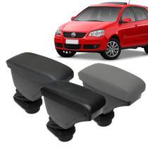 Encosto Descanso de Braço Apoio Polo Hatch Sedan 02 a 15 Porta Objetos Eco Couro Encaixe Porta Copos - Nat