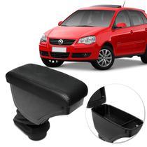 Encosto Descanso de Braço Apoio Polo Hatch Sedan 02 a 15 Preto Couro Ecológico Encaixe Porta Copos - Nat