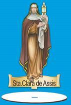Enfeite Arte em Madeira MDF e Tecido colado com Base Sta. Clara de Assis AMTB-006 - Litoarte -