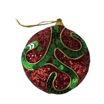Enfeite Bolas de Árvore de Natal Bolacha Vermelha, Verde e Dourado 05 unidades Cromus - Festabox
