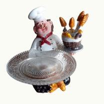 Enfeite cozinheiro em resina e porta petiscos com 6 garfinhos 20 cm - Gold Roda Ltda