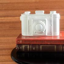 Enfeite de Cerâmica Câmera Branca 18cm - ETNA