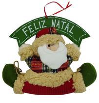 Enfeite de porta papai noel feliz natal 33cm - niazitex -