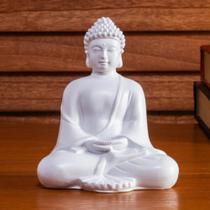 Enfeite de Resina Buda Tendai Branca 12cm - ETNA