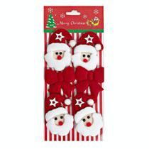 Enfeite Decoração De Natal Papai Noel Com Laços Árvore - Imp