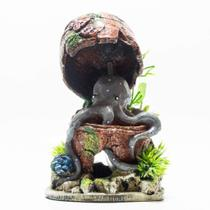 Enfeite decoração para aquário polvo baú resina - Lester