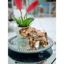 Enfeite Decorativo Elefante Cerâmica 3 cores - Rosê, Dourado, Prata - 14cm - Interponte