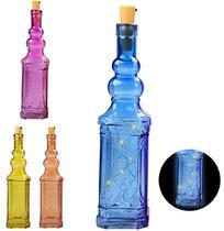 Enfeite Decorativo Garrafa De Vidro Quadrada Colors Com 5 Micro Led 30Cm A Bateria - Wellmix