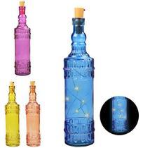 Enfeite Decorativo Garrafa De Vidro Slim Colors Com 5 Micro Led 31Cm A Bateria - Wellmix