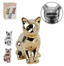 Enfeite Decorativo Gato Sentado Cofre De Porcelana Metalizado 16X13Cm - Wellmix