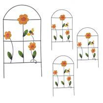 Enfeite Jardim de Ferro Grade Para Jardim Abelha Casa Decoraçao Flor Laranja Com 4 (JARD-60) - Braslu