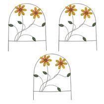 Enfeite Jardim Ferro Grade Casa Varanda Decora Planta Flor Amarela Com 3 (JARD-65) - Braslu