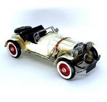 Enfeite miniatura carro veiculo branco antigo classico de metal vintage retro -