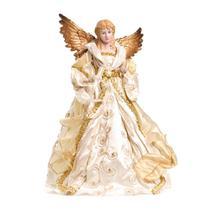 Enfeite Natal Decorativo Anjo de Resina Marfim e Ouro 40cm - Cromus