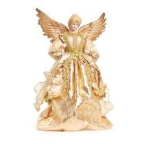 Enfeite Natal Decorativo Anjo de Resina Roupa Ouro 35cm 1 Pç - Cromus