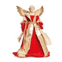 Enfeite Natal Decorativo Anjo de Resina Vermelho e Ouro 40cm - Cromus
